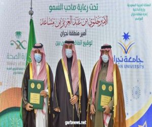 سمو أمير منطقة #نجران يرعى توقيع اتفاقية بين جامعة نجران والشؤون الصحية بالمنطقة.